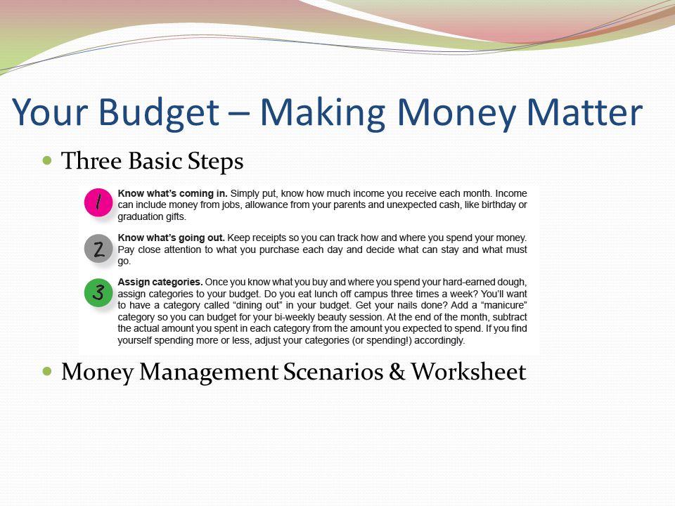 Your Budget – Making Money Matter Three Basic Steps Money Management Scenarios & Worksheet