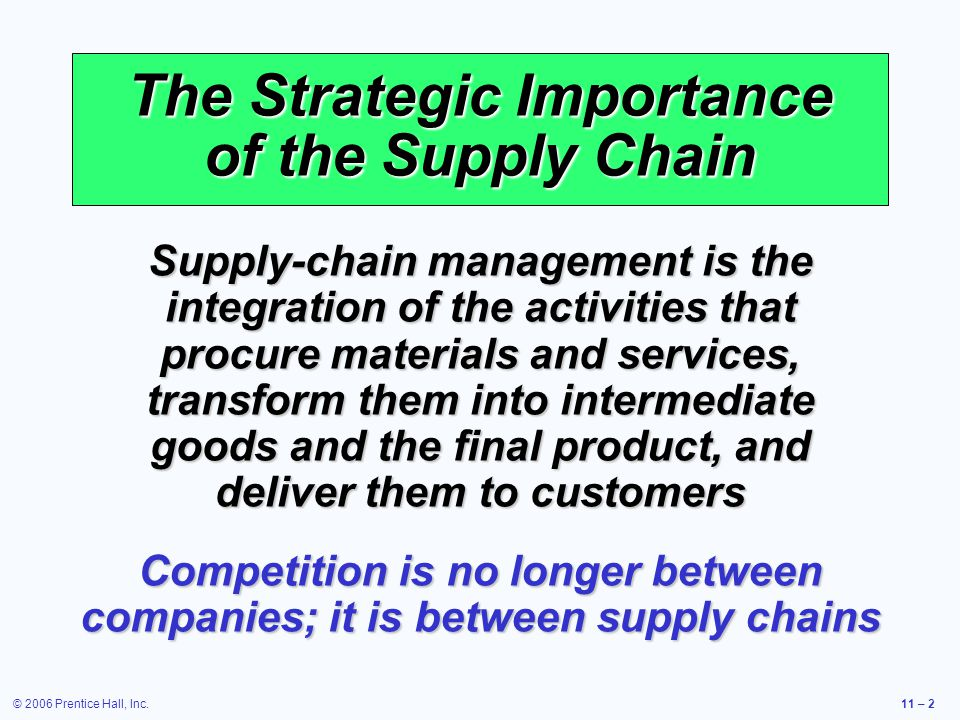 © 2006 Prentice Hall, Inc.11 – 2 The Strategic Importance of the Supply Chain Supply-chain management is the integration of the activities that procur
