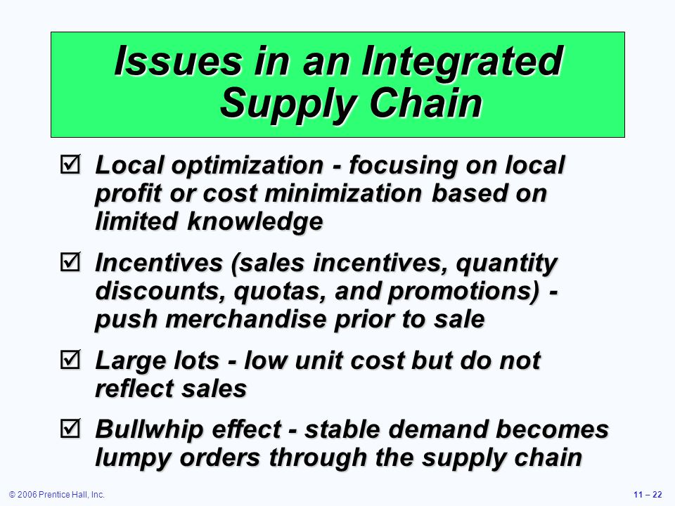 © 2006 Prentice Hall, Inc.11 – 22 Issues in an Integrated Supply Chain Local optimization - focusing on local profit or cost minimization based on lim