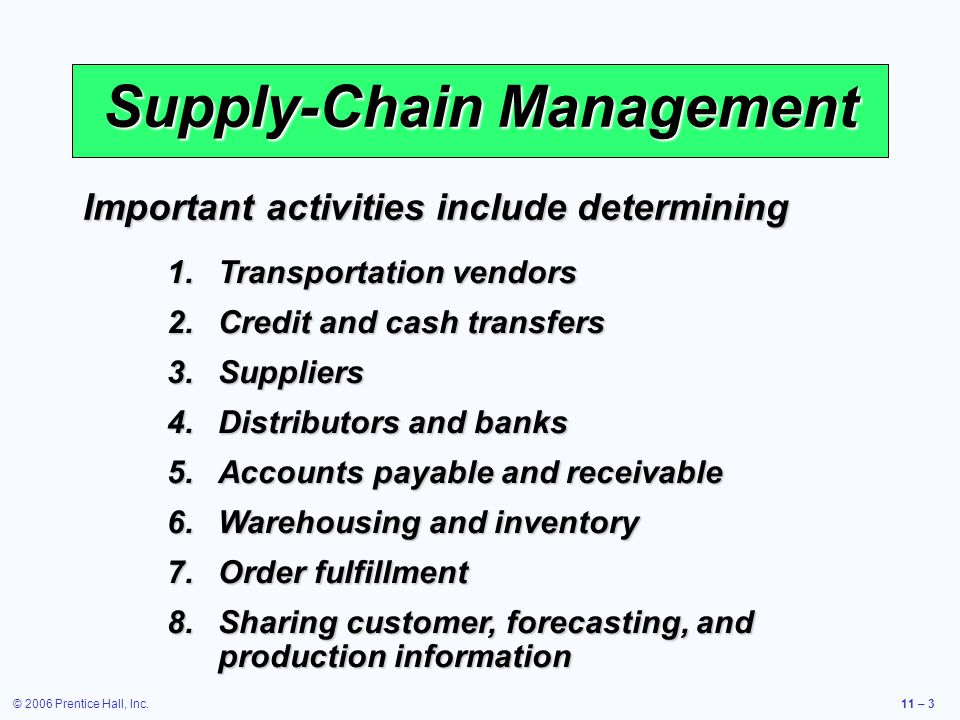 © 2006 Prentice Hall, Inc.11 – 3 Supply-Chain Management 1.Transportation vendors 2.Credit and cash transfers 3.Suppliers 4.Distributors and banks 5.A