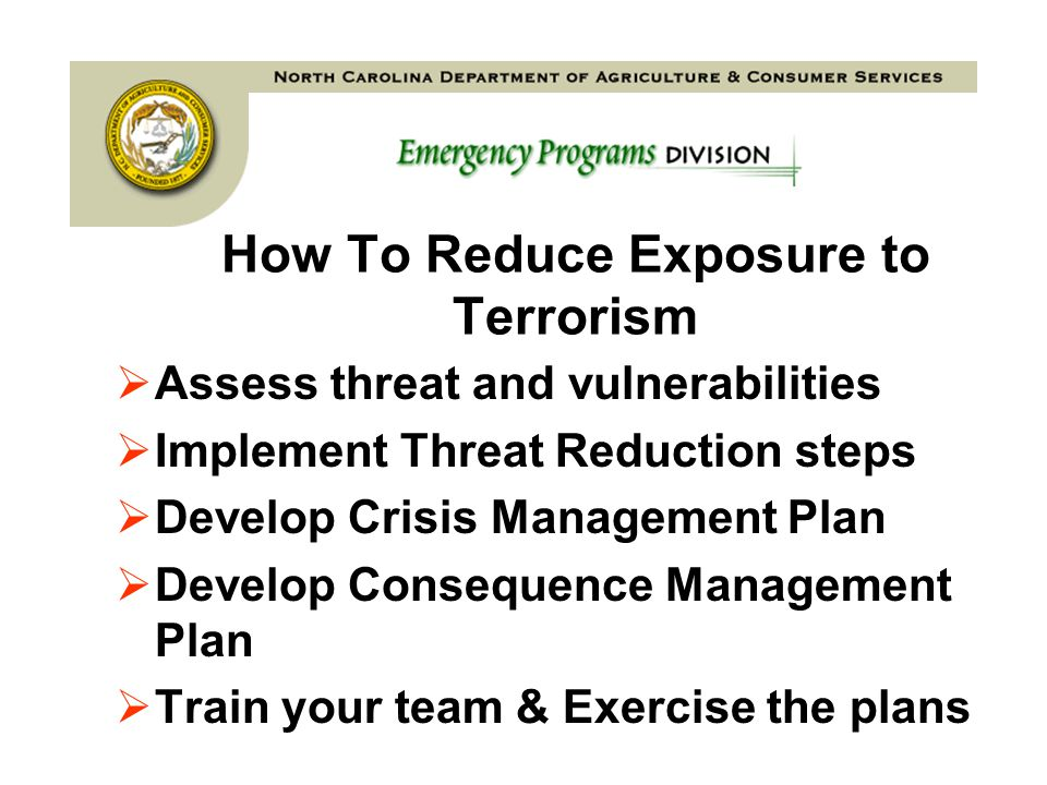 Continuum Emergency ResponseConsequence Management Recovery Long Term Sustainment Follow-up PreparationsCrisis Response Plan Equip Train Coordinate Test Respond Rescue Secure Support Event Support to local/State agencies Troops on street Immediate Response Rescue Immediate sustainment Crisis Response Identify Prevent Apprehend Follow-up Sustainment Consequence Management