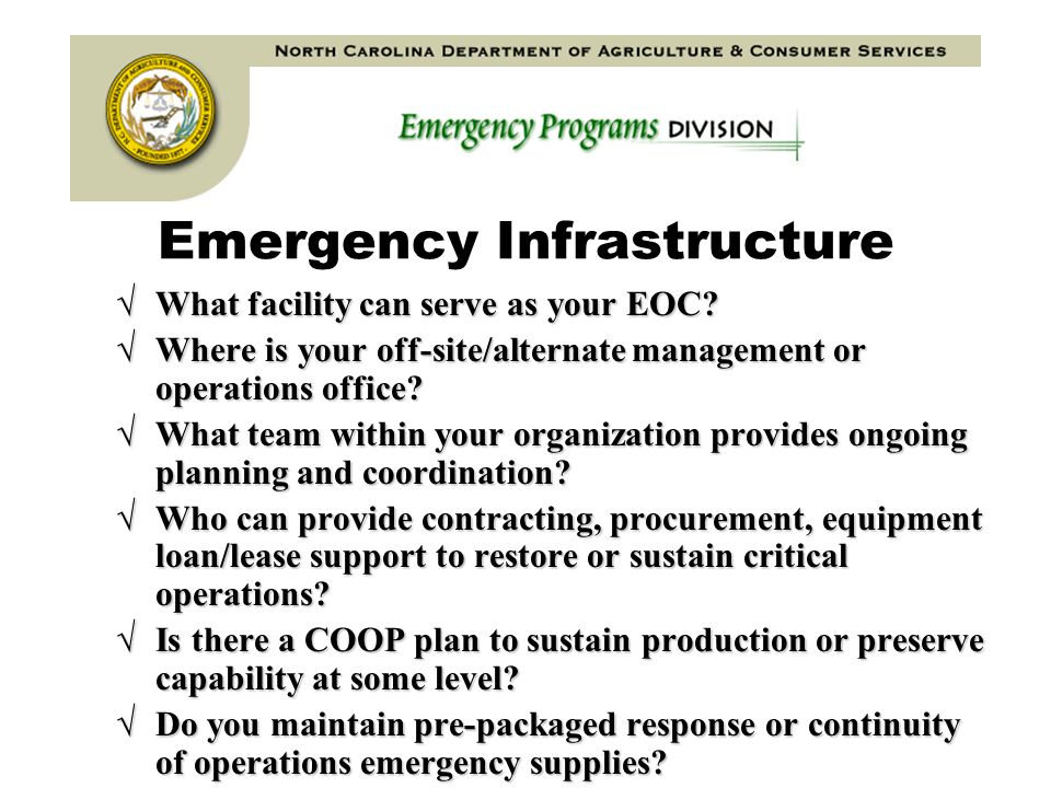 Emergency Infrastructure What facility can serve as your EOC.