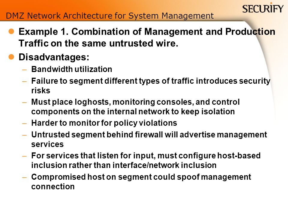 DMZ Network Architecture for System Management Example 1.