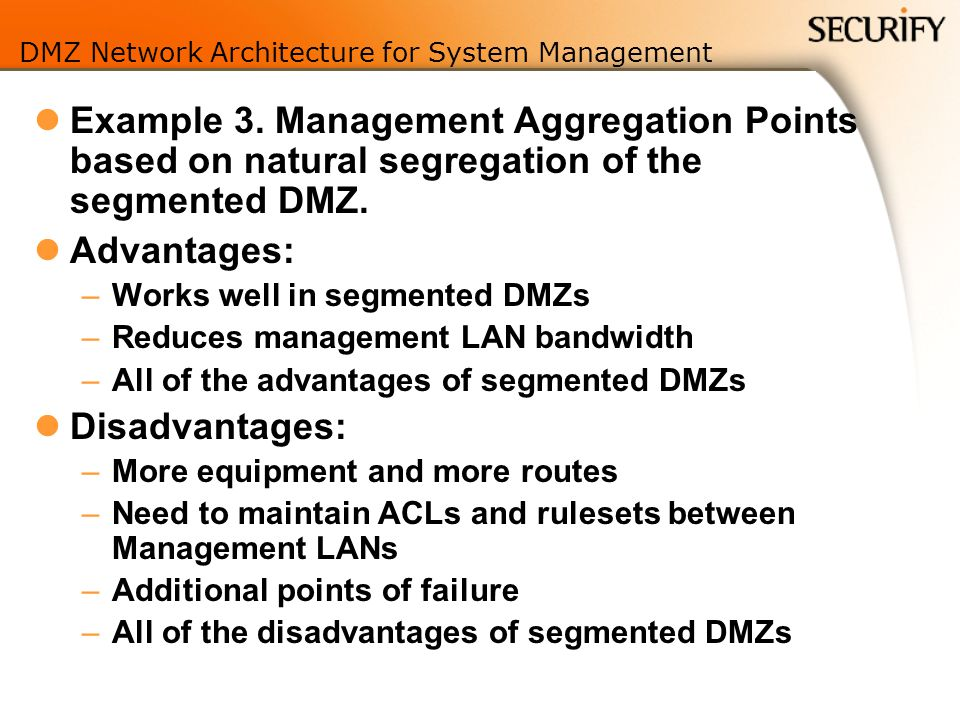 DMZ Network Architecture for System Management Example 3.