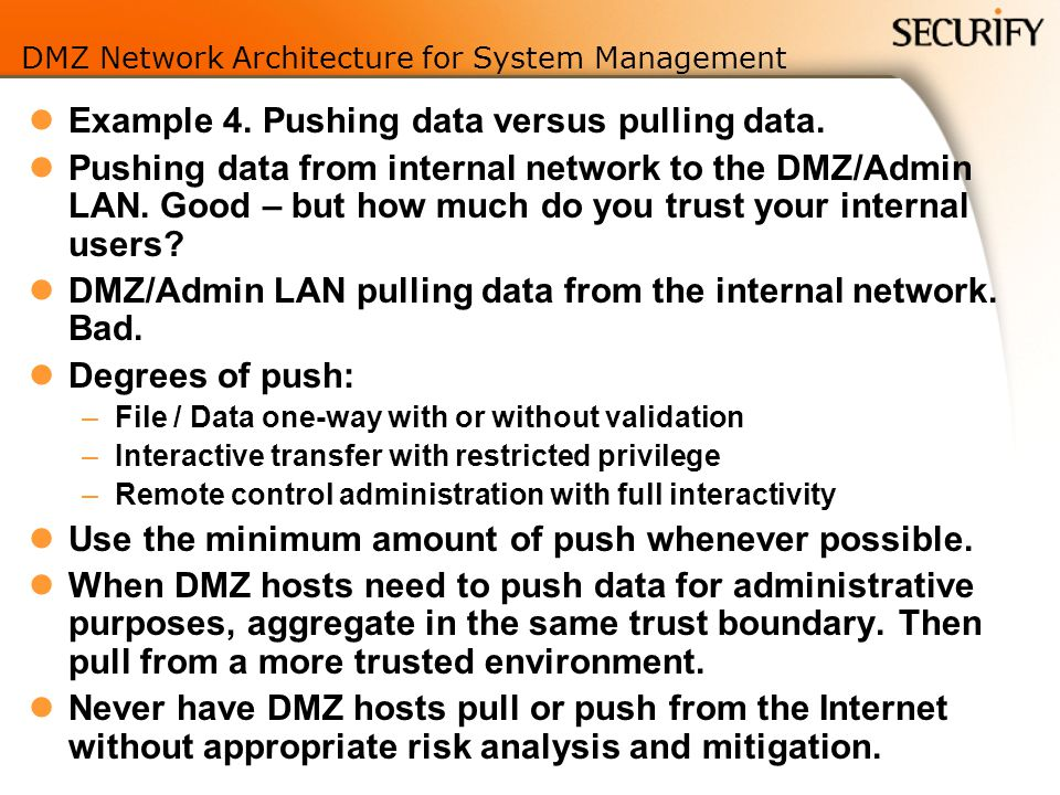 DMZ Network Architecture for System Management Example 4.