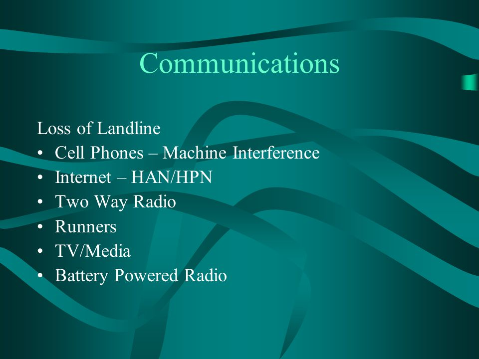 Communications Loss of Landline Cell Phones – Machine Interference Internet – HAN/HPN Two Way Radio Runners TV/Media Battery Powered Radio