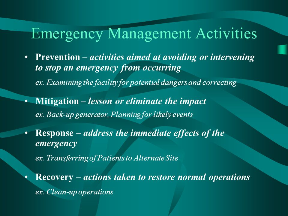 Summary Develop Emergency Management Plans Keep Plan readily available Train, Review, Update Plans to Changing Environment Be active with your local Emergency Management agency (EMO) Mutual Aid Agreements (MOUs) List of local vendors/suppliers/labs for assistance Preventative Maintenance Establish a Decision Making Tree/Center (EOC) Incident Command System