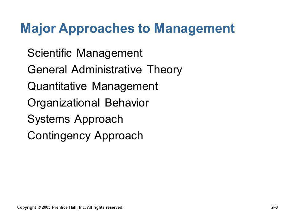 Copyright © 2005 Prentice Hall, Inc. All rights reserved.2–8 Major Approaches to Management Scientific Management General Administrative Theory Quanti