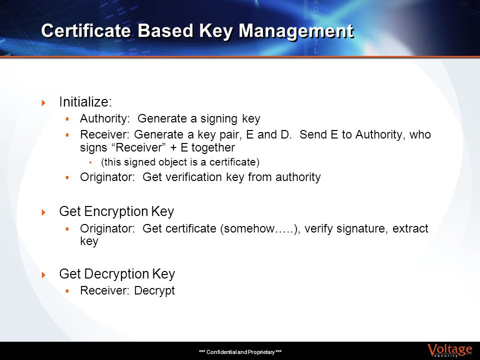 *** Confidential and Proprietary *** Certificate Based Key Management Initialize: Authority: Generate a signing key Receiver: Generate a key pair, E a