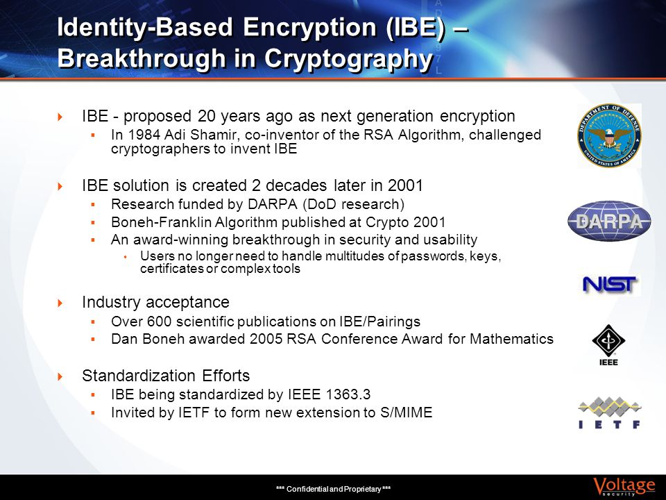 *** Confidential and Proprietary *** Identity-Based Encryption (IBE) – Breakthrough in Cryptography IBE - proposed 20 years ago as next generation enc