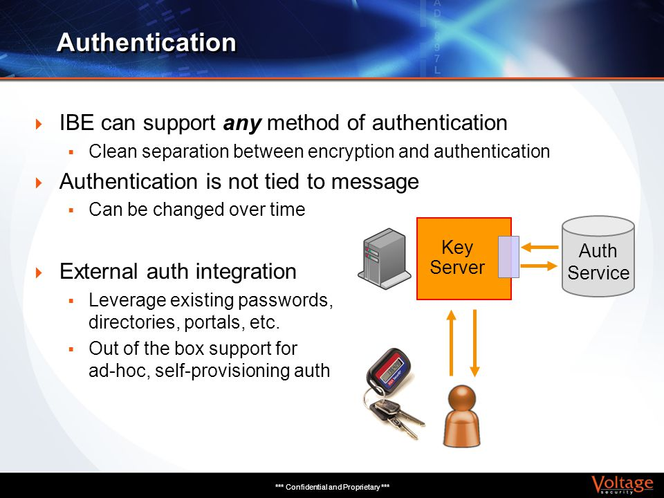 *** Confidential and Proprietary *** IBE can support any method of authentication Clean separation between encryption and authentication Authenticatio