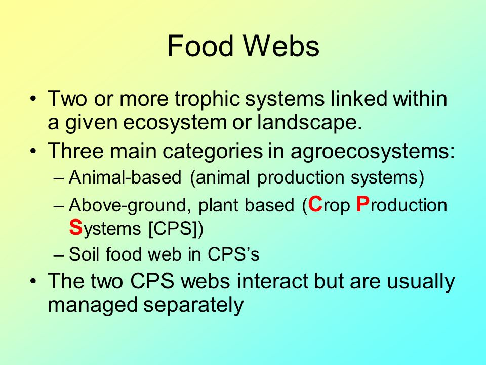 Food Webs Two or more trophic systems linked within a given ecosystem or landscape. Three main categories in agroecosystems: –Animal-based (animal pro