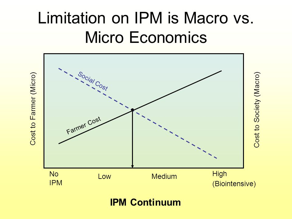 Limitation on IPM is Macro vs. Micro Economics Cost to Farmer (Micro) Cost to Society (Macro) No IPM LowMedium High (Biointensive) Farmer Cost Social