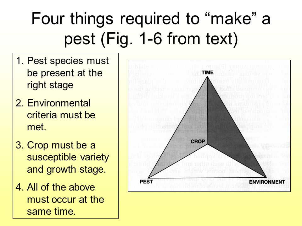 Four things required to make a pest (Fig. 1-6 from text) 1.Pest species must be present at the right stage 2.Environmental criteria must be met. 3.Cro