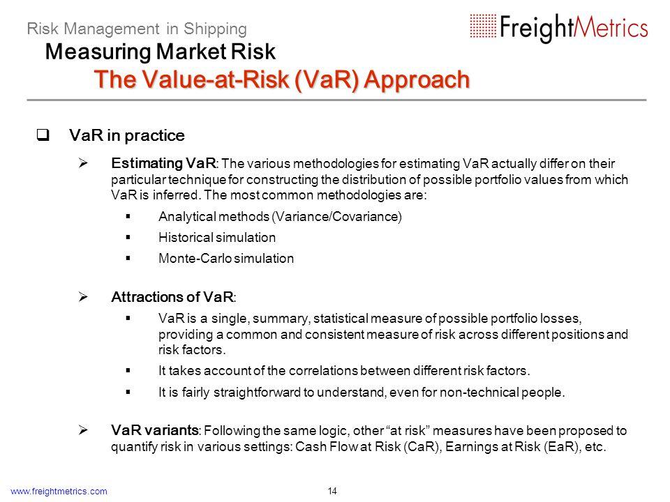 www.freightmetrics.com 14 VaR in practice Estimating VaR : The various methodologies for estimating VaR actually differ on their particular technique