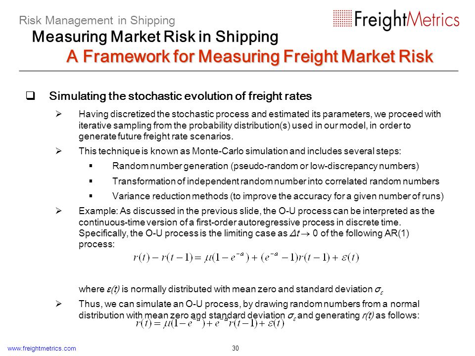 www.freightmetrics.com 30 Simulating the stochastic evolution of freight rates Having discretized the stochastic process and estimated its parameters,