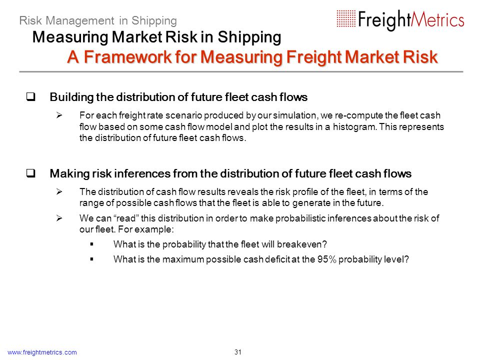 www.freightmetrics.com 31 Building the distribution of future fleet cash flows For each freight rate scenario produced by our simulation, we re-comput