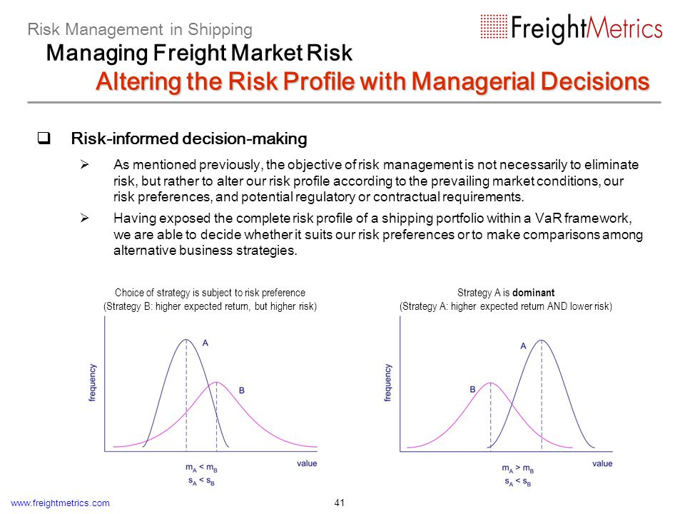 www.freightmetrics.com 41 Risk-informed decision-making As mentioned previously, the objective of risk management is not necessarily to eliminate risk