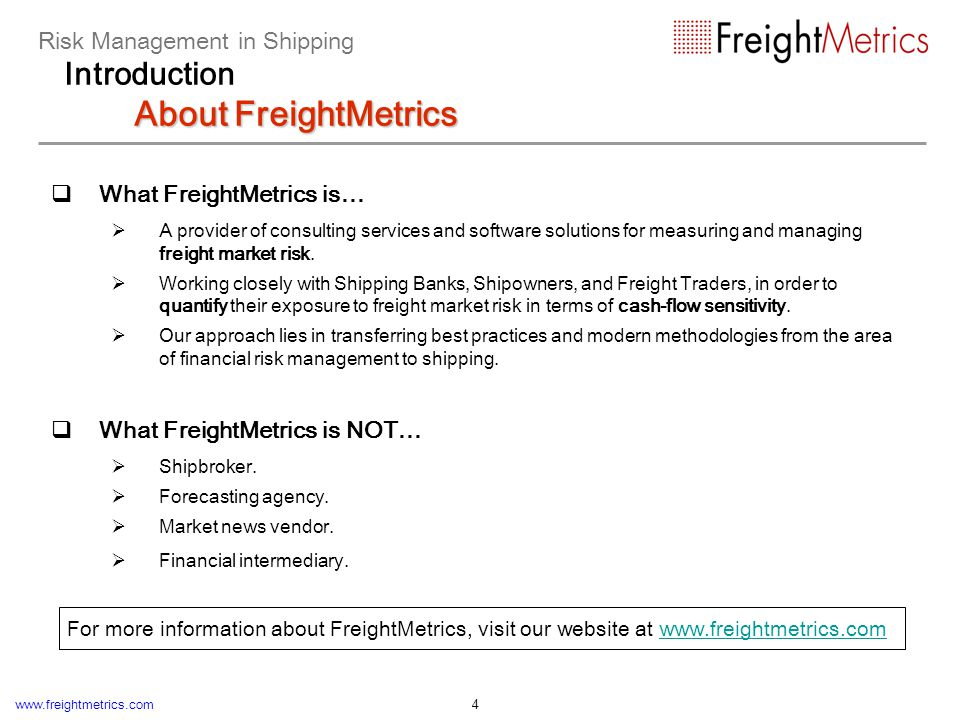 www.freightmetrics.com 25 Case study: impact of freight rate volatility on fleet cash flow Chart of accumulated liquidity (excluding balloon payment): Impact of Freight Rate Volatility on Cash Flow Risk Management in Shipping Measuring Market Risk in Shipping Impact of Freight Rate Volatility on Cash Flow