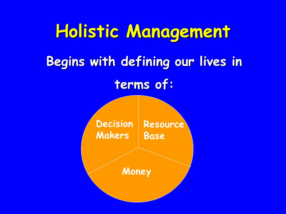 Holistic Management Begins with defining our lives in terms of: Decision Makers Resource Base Money