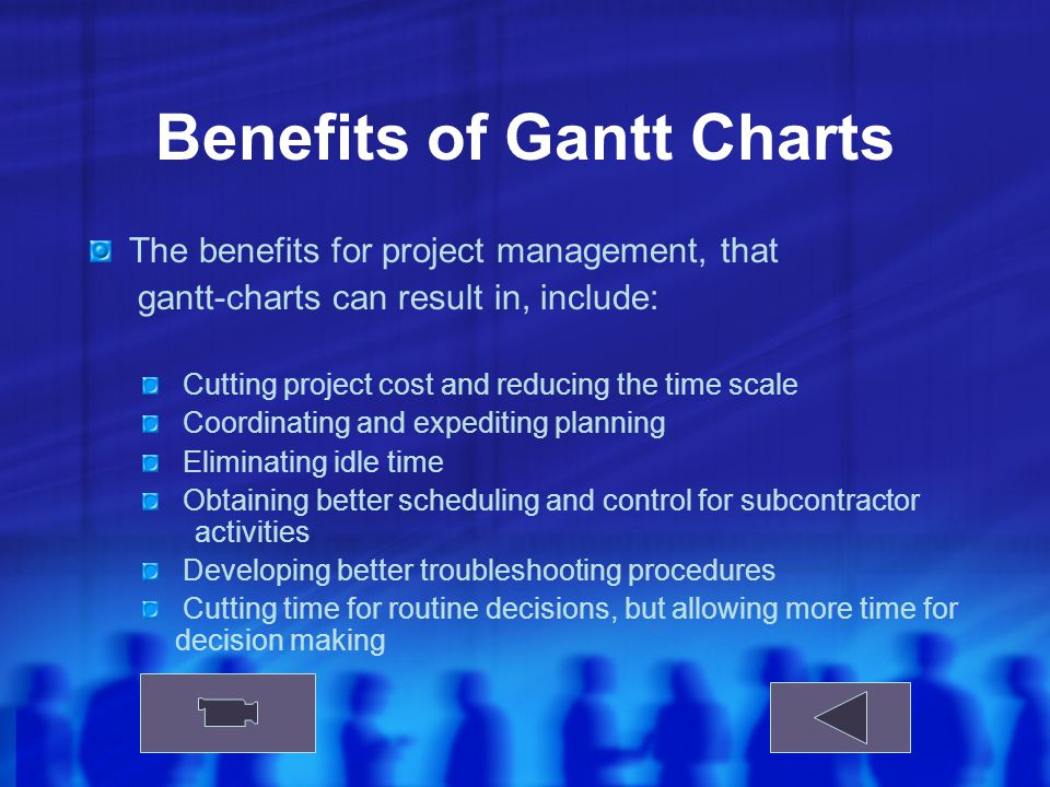 Benefits of Gantt Charts The benefits for project management, that gantt-charts can result in, include: Cutting project cost and reducing the time scale Coordinating and expediting planning Eliminating idle time Obtaining better scheduling and control for subcontractor activities Developing better troubleshooting procedures Cutting time for routine decisions, but allowing more time for decision making