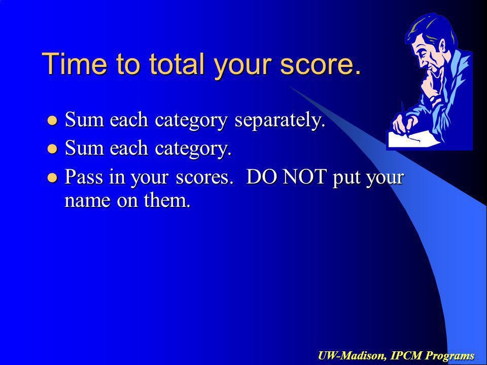 UW-Madison, IPCM Programs Time to total your score.