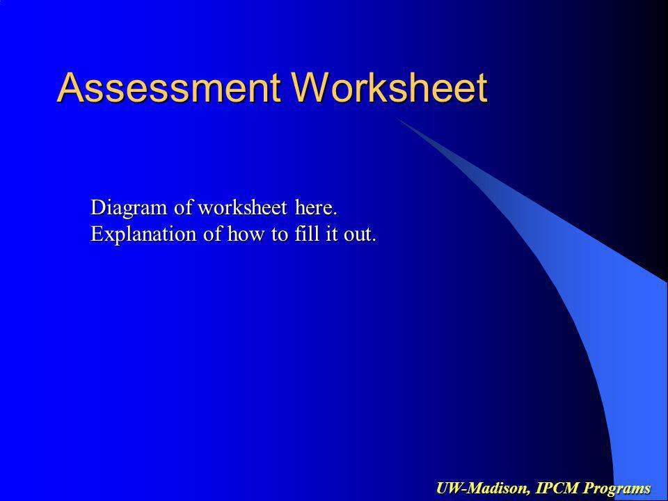 UW-Madison, IPCM Programs Assessment Worksheet Diagram of worksheet here.