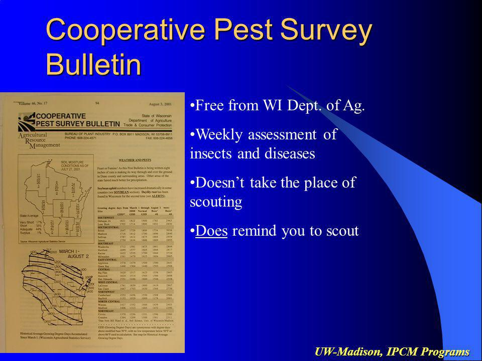 UW-Madison, IPCM Programs Insect Management Soil Insecticide Calibration –Calibration saves $ –Dont use book values from operators manual or insecticide label –Calibrate each row of the planter –Company reps will (want to) help