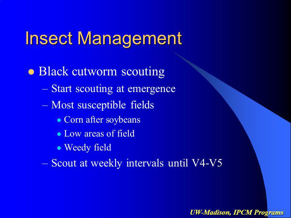 UW-Madison, IPCM Programs Insect Management First Generation European corn borer –Use Pest Survey Bulletin to schedule first visit –Early planted fields most susceptible –Scout at weekly intervals until threat is over –Look for shotholing in new leaves –Pull whorl leaves & count larvae (5% loss/larvae) –Monitor Bt corn for resistance