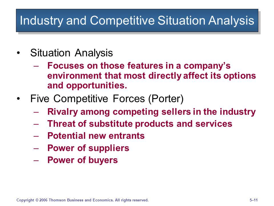 5–11Copyright © 2006 Thomson Business and Economics. All rights reserved. Industry and Competitive Situation Analysis Situation Analysis –Focuses on t