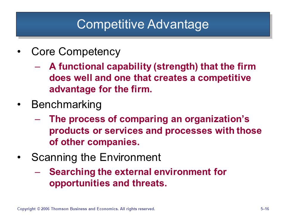5–16Copyright © 2006 Thomson Business and Economics. All rights reserved. Competitive Advantage Core Competency –A functional capability (strength) th