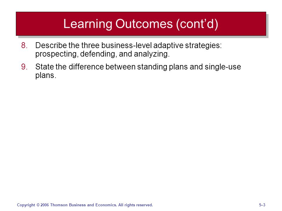 5–35–3Copyright © 2006 Thomson Business and Economics. All rights reserved. Learning Outcomes (contd) 8.Describe the three business-level adaptive str
