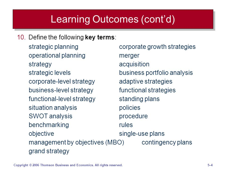 5–45–4Copyright © 2006 Thomson Business and Economics. All rights reserved. Learning Outcomes (contd) 10.Define the following key terms: strategic pla