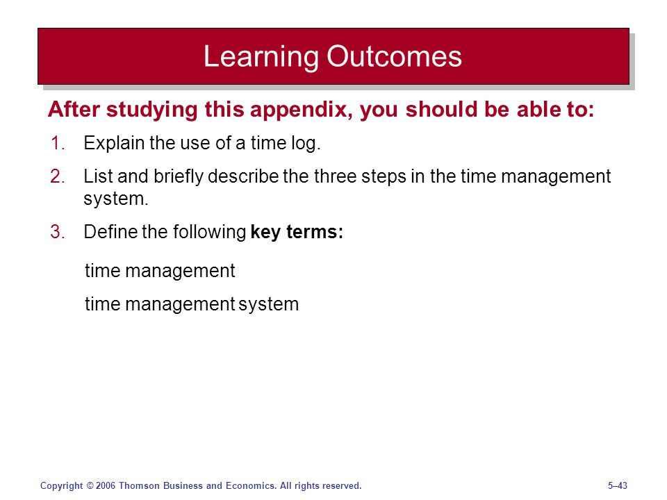5–43Copyright © 2006 Thomson Business and Economics. All rights reserved. Learning Outcomes 1.Explain the use of a time log. 2.List and briefly descri