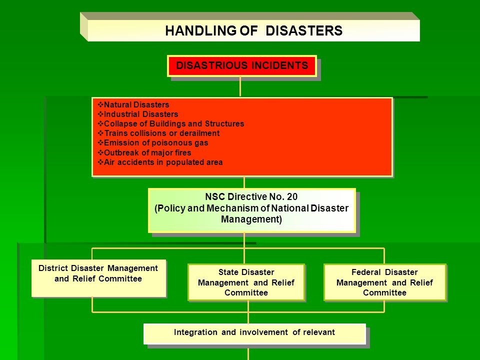 At Federal Level : To formulate policies and strategies of national disaster management.