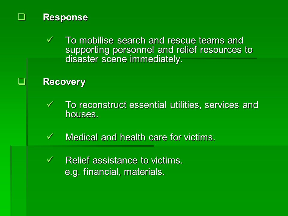 Preparedness Preparedness Agencies should have SOPs and should be reviewed and updated.
