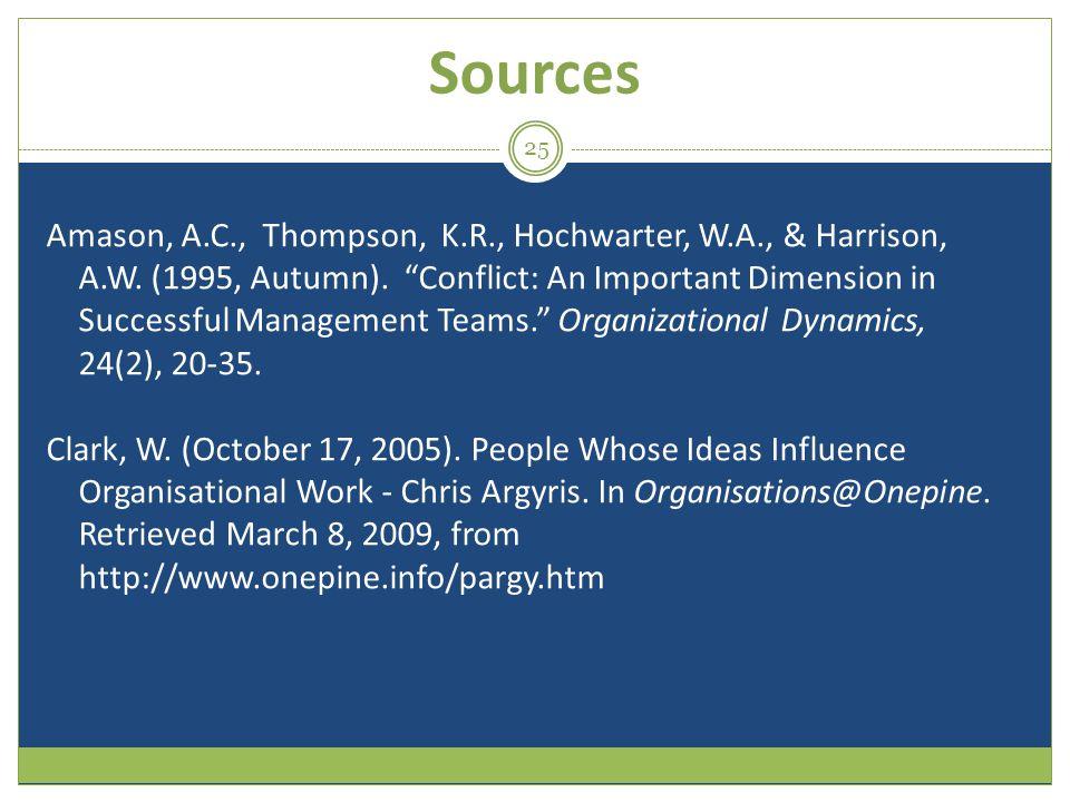 Sources Amason, A.C., Thompson, K.R., Hochwarter, W.A., & Harrison, A.W.