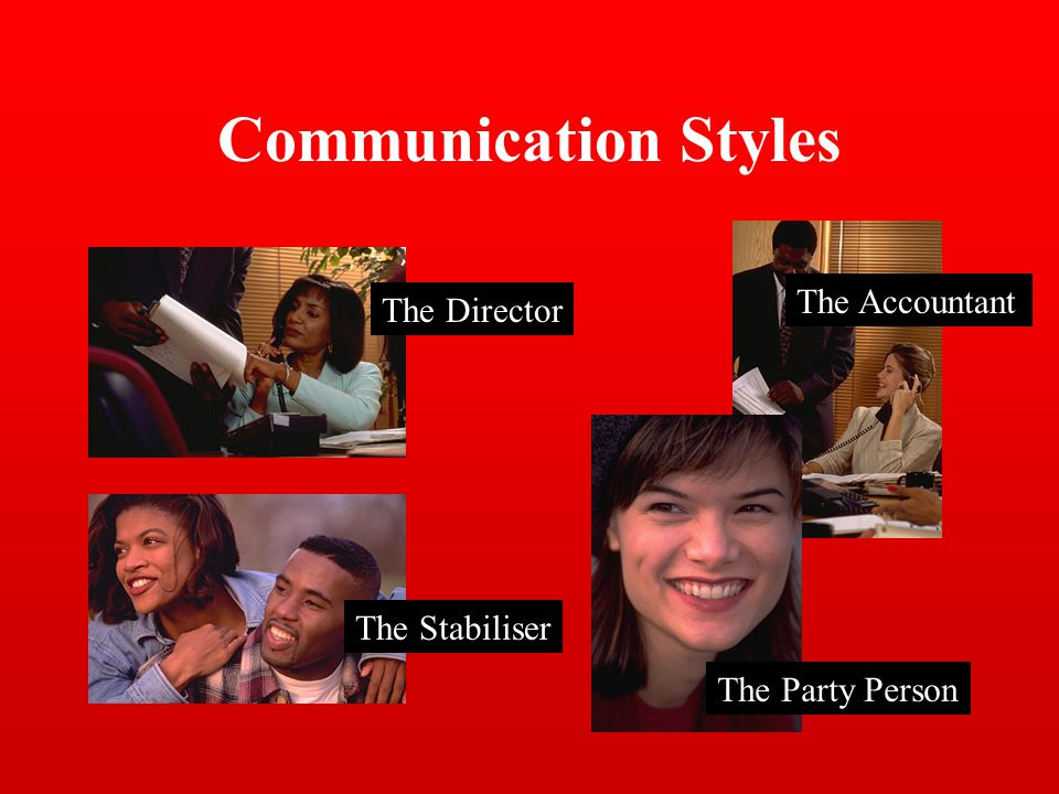 Communication Styles The Director The Stabiliser The Party Person The Accountant