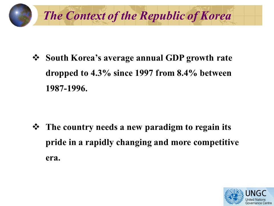 The Context of the Republic of Korea South Koreas average annual GDP growth rate dropped to 4.3% since 1997 from 8.4% between 1987-1996.