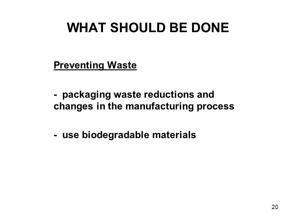 20 WHAT SHOULD BE DONE Preventing Waste - packaging waste reductions and changes in the manufacturing process - use biodegradable materials