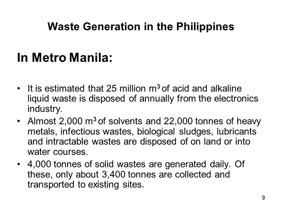 9 Waste Generation in the Philippines In Metro Manila: It is estimated that 25 million m 3 of acid and alkaline liquid waste is disposed of annually f