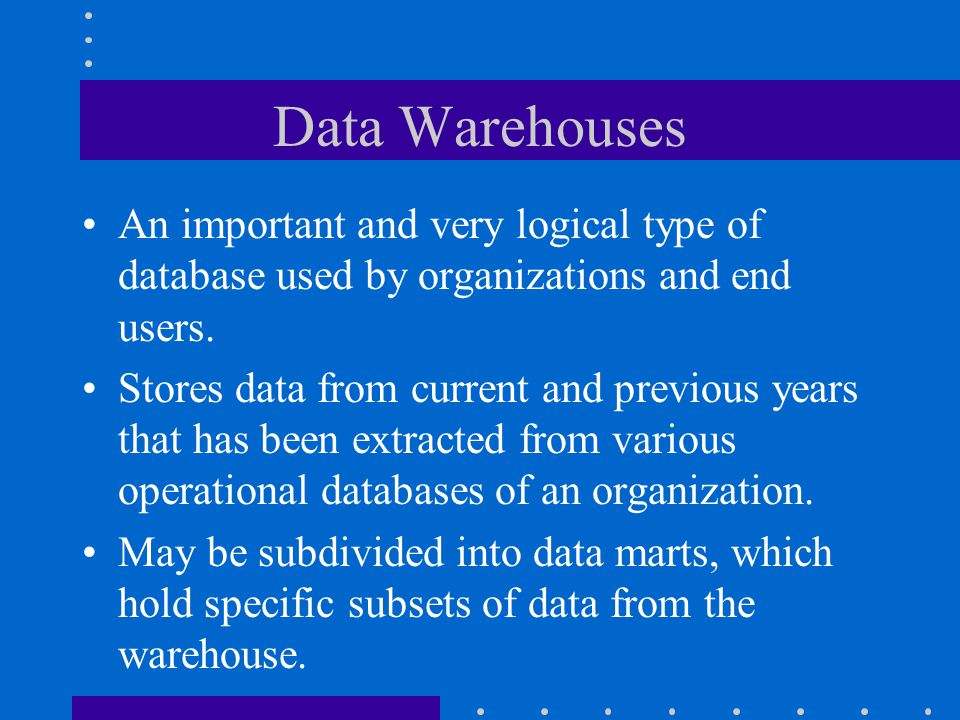 Book Definition Data Warehouses are an integrated collection of data extracted from operational, historical, and external databases, and screened, edi