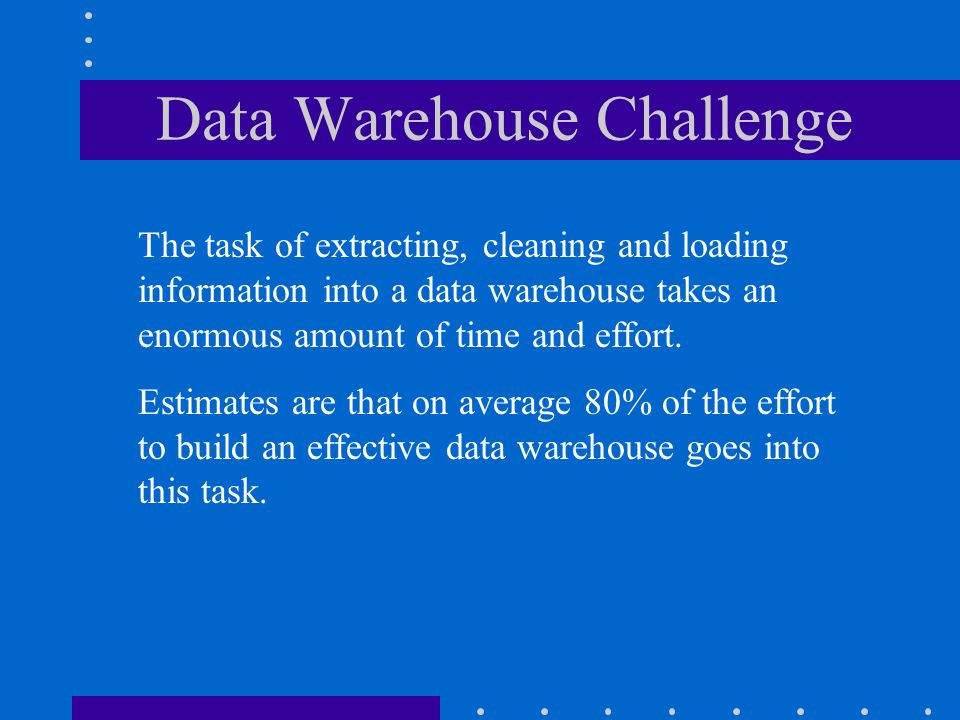 Data Warehouses An important and very logical type of database used by organizations and end users. Stores data from current and previous years that h