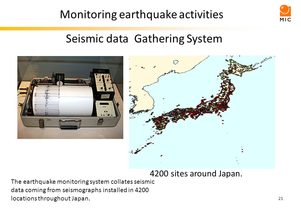 21 Monitoring earthquake activities Seismic data Gathering System 4200 sites around Japan.