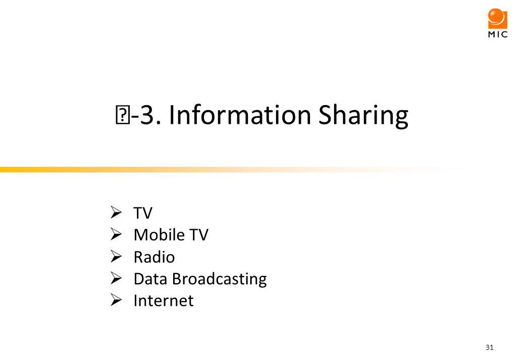 -3. Information Sharing 31 TV Mobile TV Radio Data Broadcasting Internet