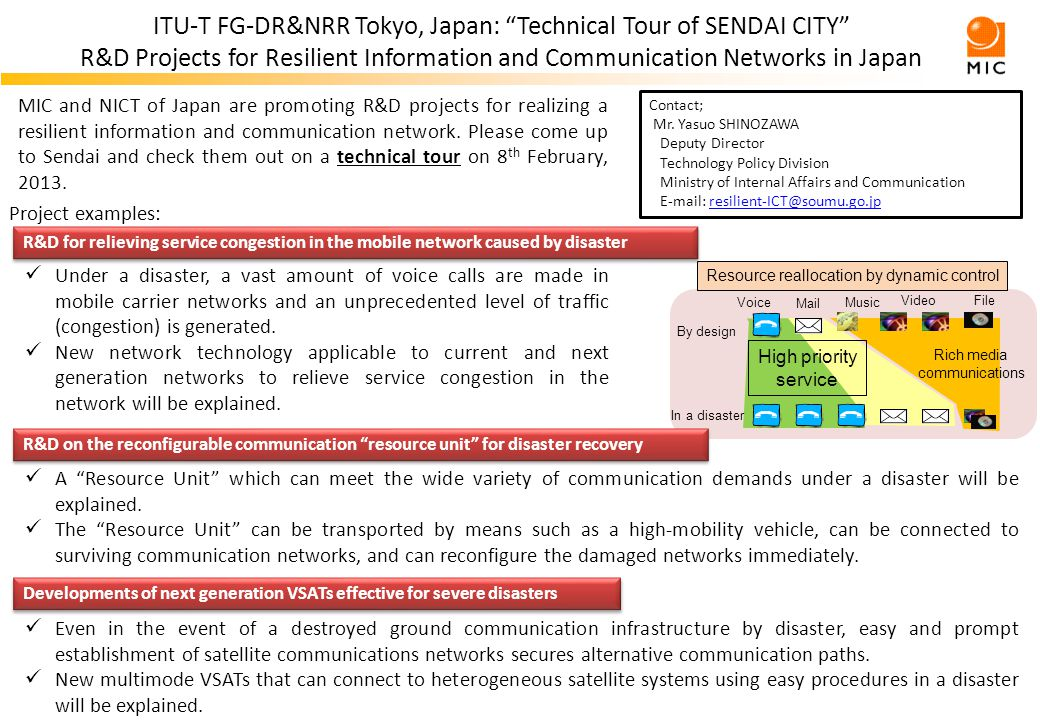 ITU-T FG-DR&NRR Tokyo, Japan: Technical Tour of SENDAI CITY R&D Projects for Resilient Information and Communication Networks in Japan MIC and NICT of Japan are promoting R&D projects for realizing a resilient information and communication network.