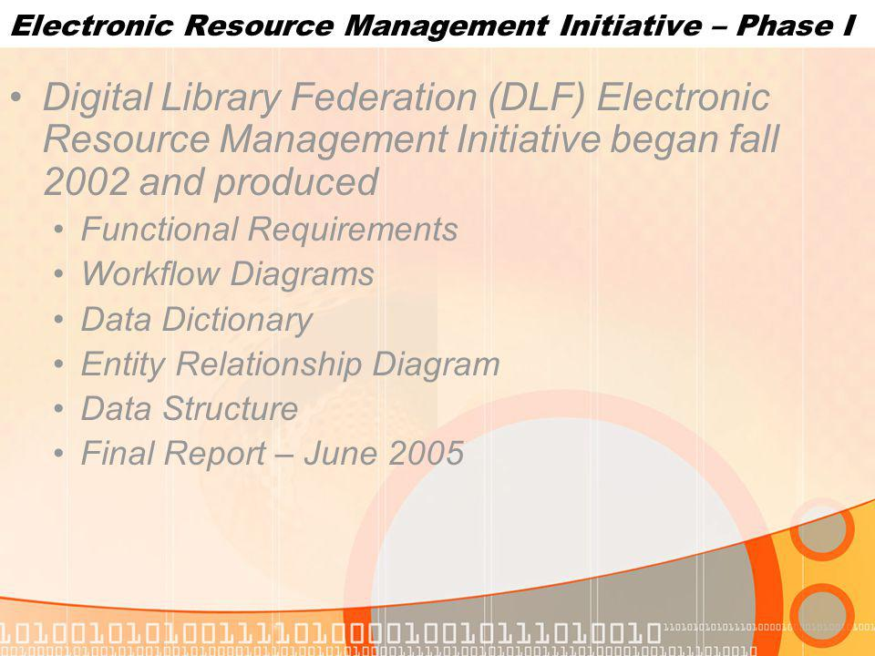 Electronic Resource Management Initiative – Phase I Digital Library Federation (DLF) Electronic Resource Management Initiative began fall 2002 and produced Functional Requirements Workflow Diagrams Data Dictionary Entity Relationship Diagram Data Structure Final Report – June 2005