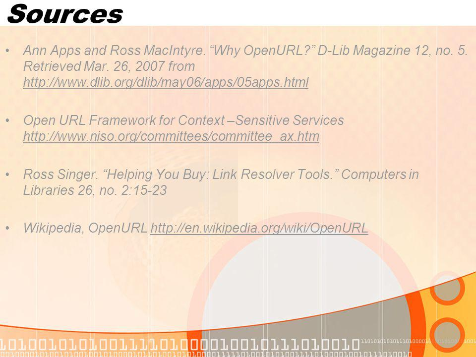 Sources Ann Apps and Ross MacIntyre. Why OpenURL.