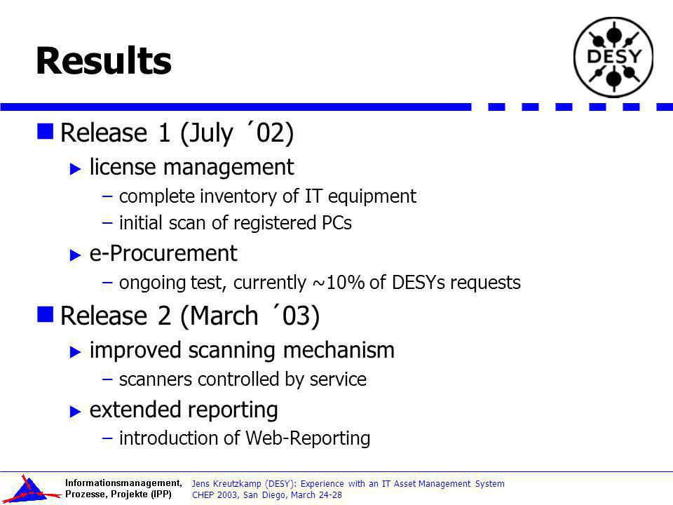 CHEP 2003, San Diego, March 24-28 Jens Kreutzkamp (DESY): Experience with an IT Asset Management System Results Release 1 (July ´02) license managemen