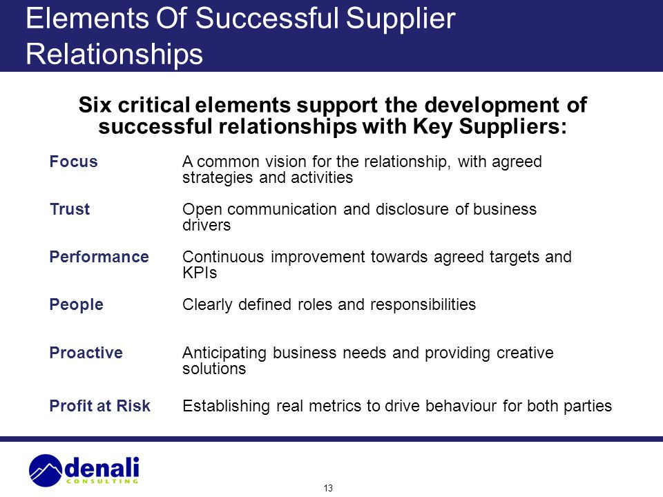 13 Elements Of Successful Supplier Relationships Six critical elements support the development of successful relationships with Key Suppliers: FocusA